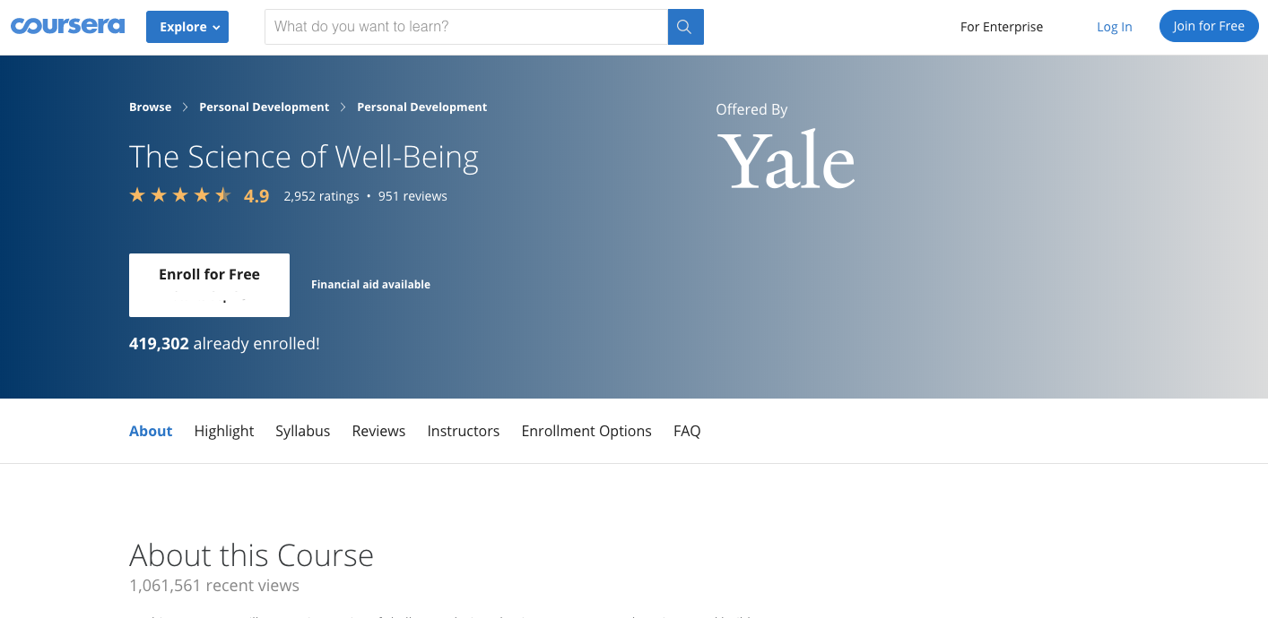 https://www.coursera.org/learn/the-science-of-well-being